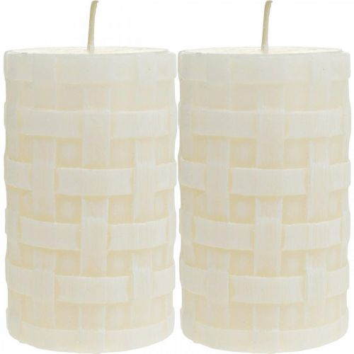 Rustikke lys, hvite vokslys, søylelys kurv mønster 110/65 2stk