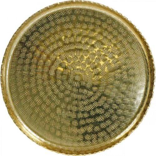 Rundt metallbrett, gylden dekorplate, orientalsk dekorasjon Ø30cm