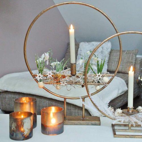 Stearinlys, dekorativ lanterne, borddekorasjon antikk utseende Ø9,5cm H10cm 4stk