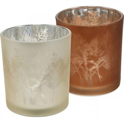 Glasslykt, telysglass med bladmotiv, høstpynt Ø8cm H9cm 2stk