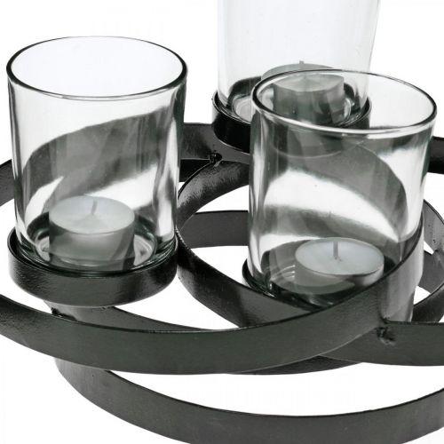 Adventslysestake metall rund sort 4 glass 34 × 26 × 18cm