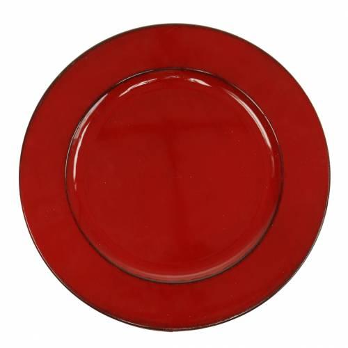 Dekorativ plate rød / svart Ø22cm