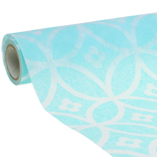 Bordløper med mønster lyseblå 30cm x 300cm
