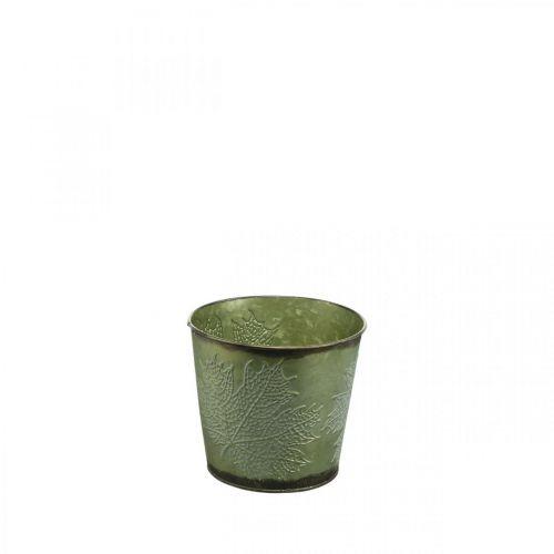 Planter med bladdekorasjon, metallkar til høst, grønn plantebøtte Ø10cm H10cm