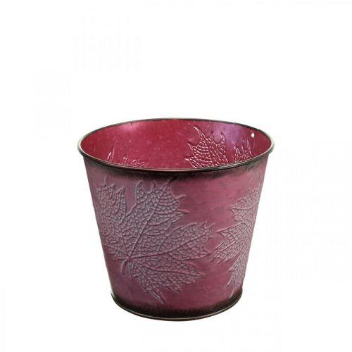 Plantekrukke med bladdekorasjon, høstdekorasjon, metallplanter vin rød Ø16,5cm H14,5cm