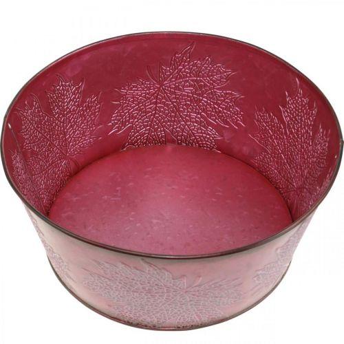 Planteskål til høsten, metallkar med bladdekorasjon, dekorativ gryte vin rød Ø25cm H11cm