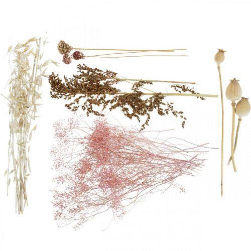 Tørkede blomsterboks Hvit-rosa Mix tørkede blomster sett