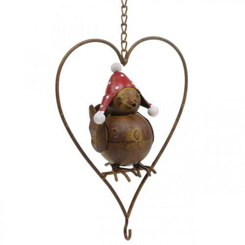 Dekorativt fuglemetall for å henge hagedekorasjon rust rødhvit 15 × 21cm