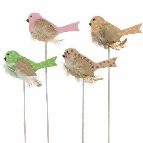 Dekoplugg fugletre grønn, rosa, gul, oransje assortert 7cm x 4cm H24cm 16stk