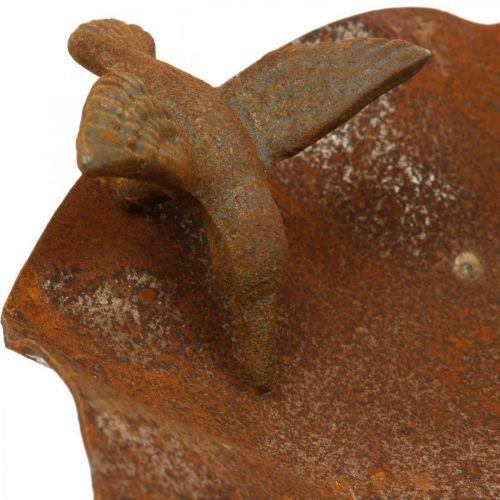 Dekorativt fuglebad, mater i rustfritt stål, antikt fuglebad Ø28cm H74cm