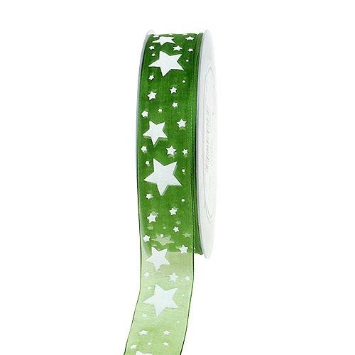 Julebånd grønt med stjernemønster 25mm 20m