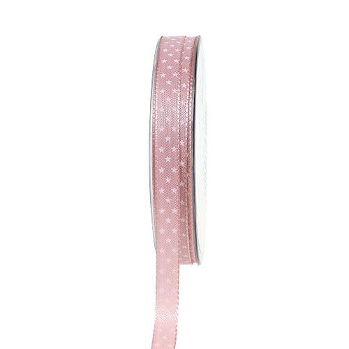 Julebånd rosa med stjerner 10mm 25m