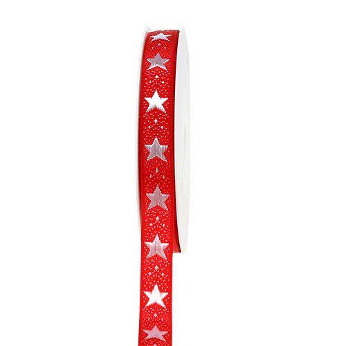 Julebånd med stjerner rød 15mm 20m
