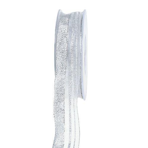 Julebånd med striper sølv 25mm 20m