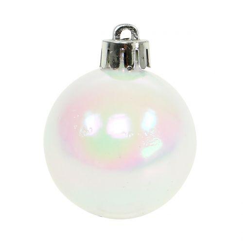 Julekule hvit skimrende liten Ø4cm 16stk