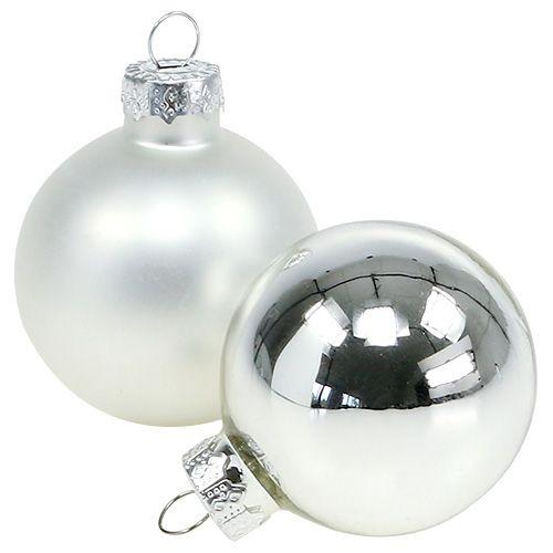 Julekuleglass Ø6cm sølvblanding 24stk