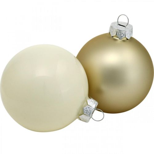 Julekuleblanding, julepynt, minitrepynt hvit / perlemor H4,5cm Ø4cm ekte glass 24stk.
