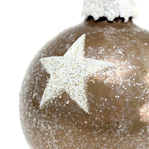 Julekuleglass med stjernemønster lysebrun Ø6cm 6stk