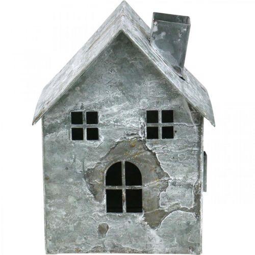 Lanterne hus metall, shabby chic, juledekorasjon, hvitvasket, antikk utseende H14,5cm
