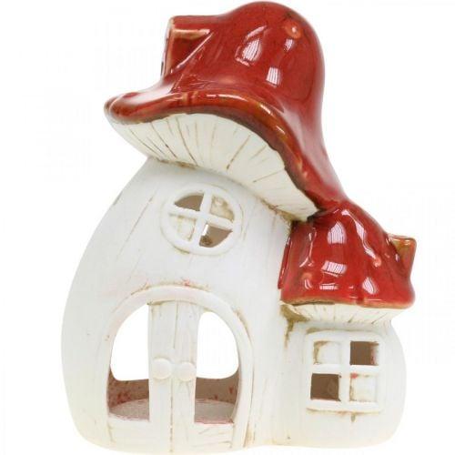 Lykt, sopphus, telysholder, høstdekorasjon, keramikk H15cm 2stk