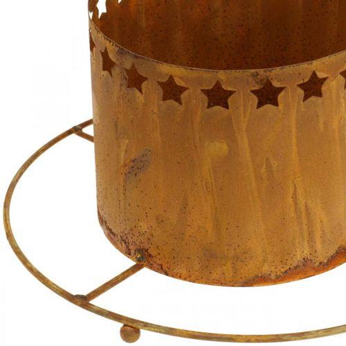 Lykt med stjerner, advent, kranseholder av metall, juledekorasjon rustfritt stål Ø25cm