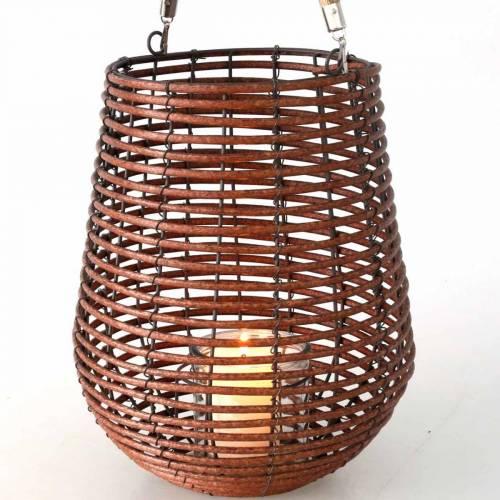 Stearinlys i en kurv, lanterne med håndtak, stearinlysdekorasjon, kurvlykt Ø24cm H34cm