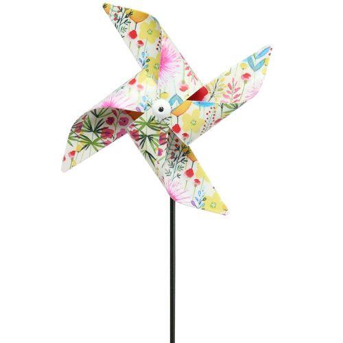 Sommerdekorasjon vindmølle Ø14cm farget på pinnen 3stk