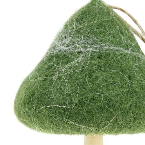 Dekorativ henger soppved / filtgrønn Ø5cm-Ø10cm H9cm 8stk