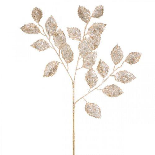 Dekorativ gren gull og glitter Juledekorasjon grenglitter 65cm