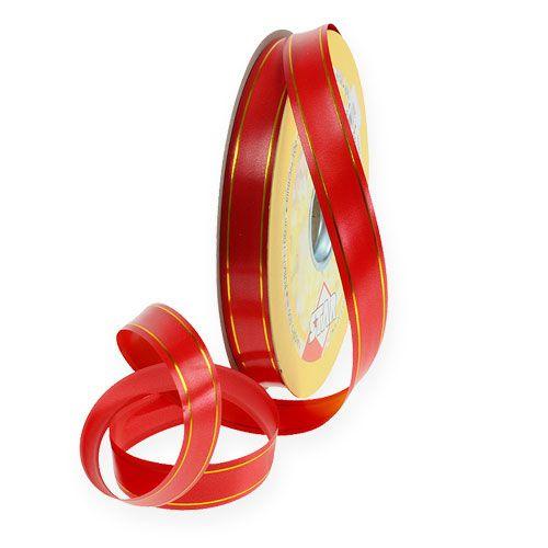 Gavebånd 2 gullstriper på rød 19mm 100m