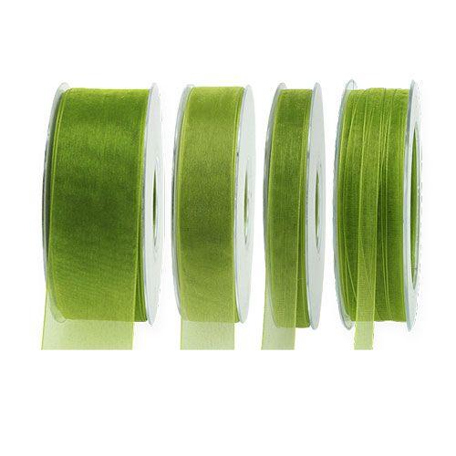 Organzabånd mosegrønn 50m